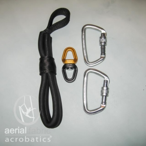 Hand loop, swivel, two modified D shape carabiners